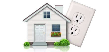 double electric wall socket behind an image of the front of a suburban house